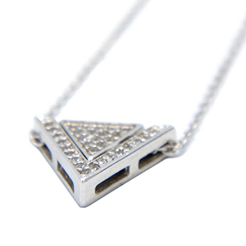 - 925 Sterling Silver Triangle Combination Cubic Zirconia Pendant Necklace