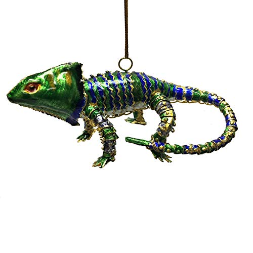 Blue and Green Chameleon Articulated Cloisonne Metal Christmas Ornament Lizard