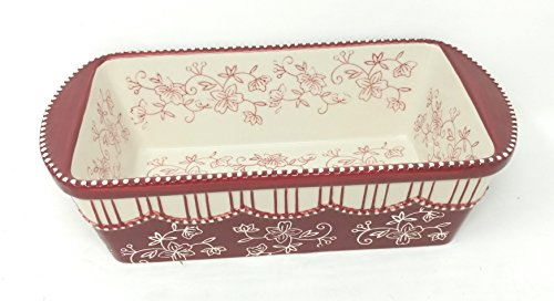 Temp-tations Loaf Pan & Plastic Cover for Meat Loafs or Breads 1.75 Quart (Floral Lace Cranberry)