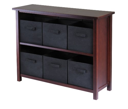 Low Shelving - Winsome Wood Verona Wood 3 Tier Open Cabinet with 6 Black Folding Fabric Baskets