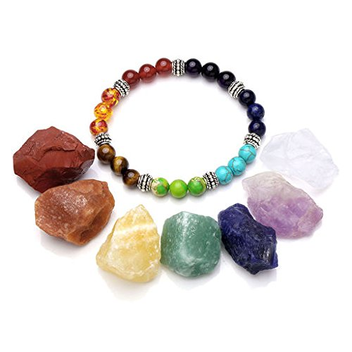 JOVIVI 7 Chakra Healing Crystals Natural Rough Raw Stones and Semi Precious Gemstone Bead Stretch Bracelet Set - Healing, Balancing, Reiki, Wicca and Energy (Gem Chakra)