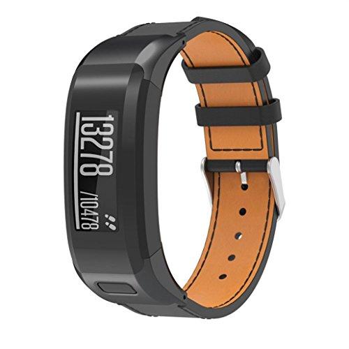 Tiean For Garmin VIVOsmart HR, Luxury Leather Replacement Wrist Watch Band Strap (Black) by Tiean