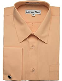 Gentlemens Collection Men's French Cuff Solid Dress Shirt (Cufflink Included)