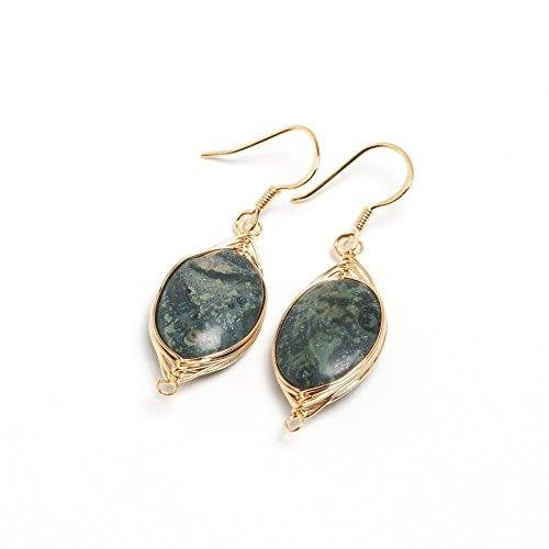 Scutum Craft 925 Sterling Silver Hook 14K Gold Plated Natural Kambaba Jasper Stone Wire Wrap Earrings Mothers Day Gifts
