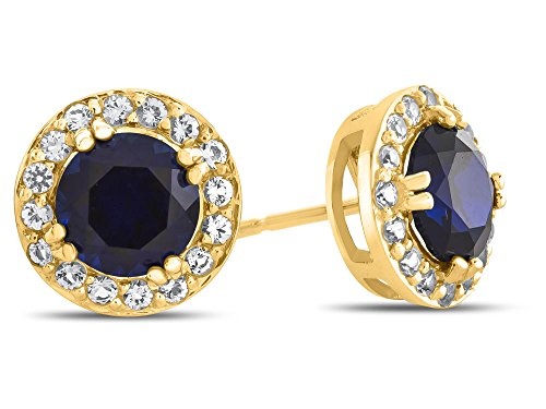 Finejewelers 14k Yellow Gold 6mm Round Created Blue Sapphire with White Topaz accent stones Halo Earrings