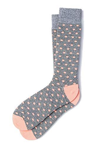 (Men's Hipster Designer Power Polka Dot Design Luxury Crew Dress Socks (Gray & Coral))