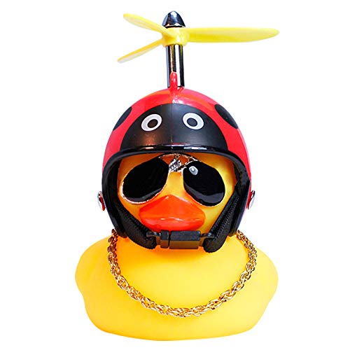 Lovely Rubber Duck Toy car Accessories Suitable for Outdoor car Dashboard Decoration Propeller Handle with Silicone Elastic Belt Easy to Install