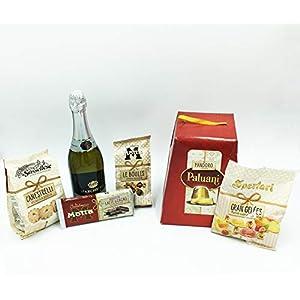 """Pandoro Paluani +""""MOTTA"""" Le Boules alla crema di nocciola+""""Motta"""" tavoletta al cioccolato+Canestrelli """"La Sassellese""""+Caramelle """"Gran Geèles""""+Spumante """"Marchesini"""" IDEALE PER FESTE"""