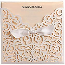 Wedding Invitation Wishmade Laser Cut 20x White Square Laser Cut Tri-fold Lace Wedding Invitations Cards with Bow Hollow Favors Invitations for Engagement Baby Shower Birthday Quinceanera