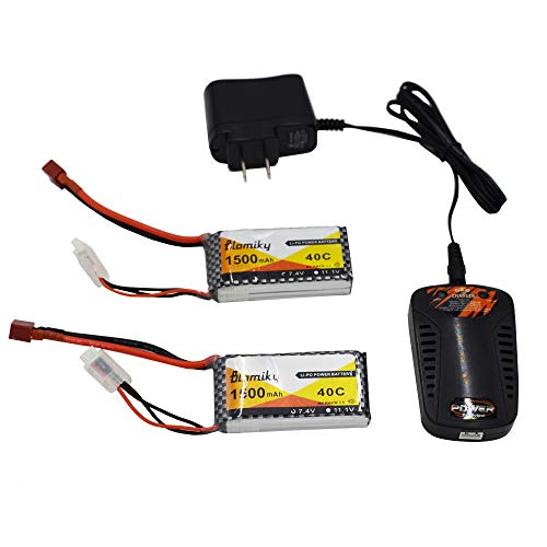 Blomiky 2 Packs 7.4V 1500mAH 35C Lipo Battery with Deans T Plug and Charger for RC Truck Car Vehicle Truggy RC Hobby 7.4V 1500mAh T 2 (Jst Lipo Battery 35c)