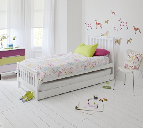 Noa and Nani Single Bed in White Trundle, Extra Sleepover Bed 2 in 1,...