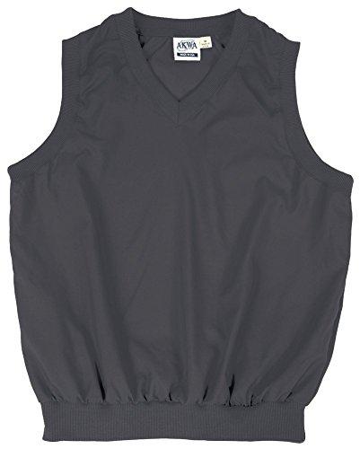 (Akwa Made in USA Men's Microfiber Water Repellent V-Neck Pullover Vest Charcoal)