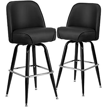 Flash Furniture Metal Barstool with Swivel Bucket Seat 2 Pack Black