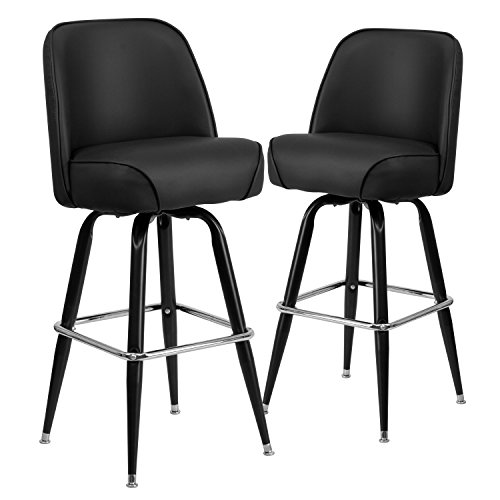 Flash Furniture 2 Pk. Metal Barstool with Swivel Bucket Seat (Swivel Stools Back With Metal Bar)
