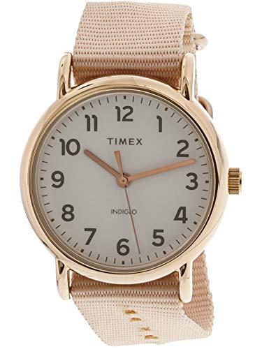 Timex Women's TW2R59600 Weekender 38 Pink/Rose Gold-Tone Nylon Slip-Thru Strap Watch