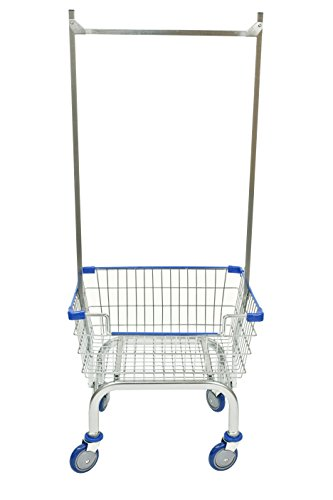 Coin Laundry Cart, CART&SUPPLY [Heavy Duty] [Rolling Cart] Laundry Cart (Chrome Double Pole Rack / Blue)