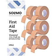"Amazon Brand - Solimo Waterproof First Aid Tape, 1"" x 5 yd Roll (6 Pack)"