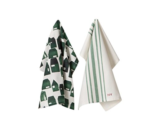 Hearth & Hand with Magnolia Dish Towels Christmas Wreath Red Black Green House Stripe Farmhouse 2 PC Set Choose Your Own (Green houses/Stripe Set of 2)