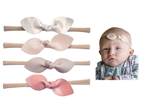 California Tot Rabbit Ears Faux Leather Bow–Stretch Headbands for Baby Toddler Girls, Set of 4 (Boutique Set)