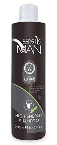 New Sens.us Man, ITALIAN HIGH ENERGY SHAMPOO to Revitalizes Hair Follicles 100% Vegetal Menta mint Fragance 250 ml 8.45 oz. Toning Shampoo Enriched with TAURINE and MENTHOL. Made in Italy