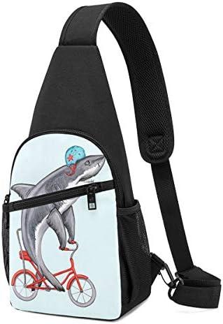 ユーモア 自転車に乗るサメ ショルダーバッグ 斜めがけ 胸 かばん肩掛けバッグ チェーンバッグ 通勤 お出かけ ボディバッグ トップハンドルサッチェル コンパクト ミニバッグ ショルダーベルト 防水 撥水 軽量 収納可能 男性