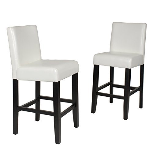 (Roundhill Furniture Citylight Counter Height Barstools (Set of 2), Off White)