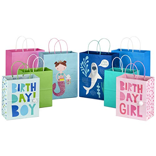 Hallmark Paper Gift Bags Assortment for Kids' Birthdays or Any Occasion (Pack of 8, 4 Medium and 4 Large)