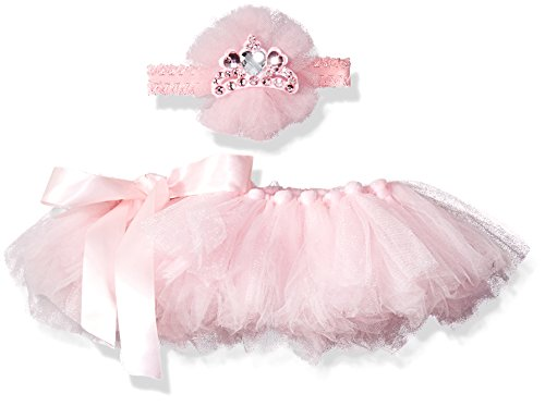 Toby & Company Baby Tutu and Princess Tiara Headband 2 Piece Set, Light Pink, Newborn Infant Blended Toby Set