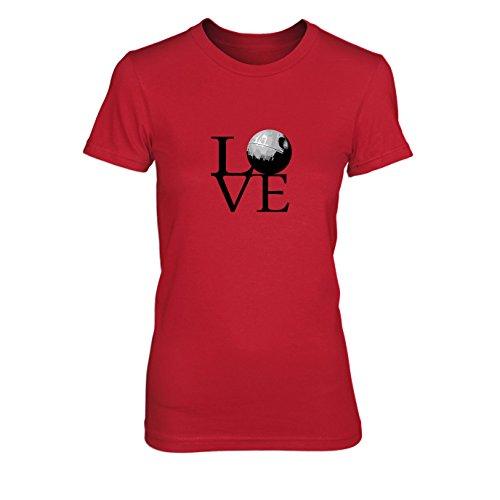 Todesstern Love - Damen T-Shirt, Größe: XL, Farbe: rot