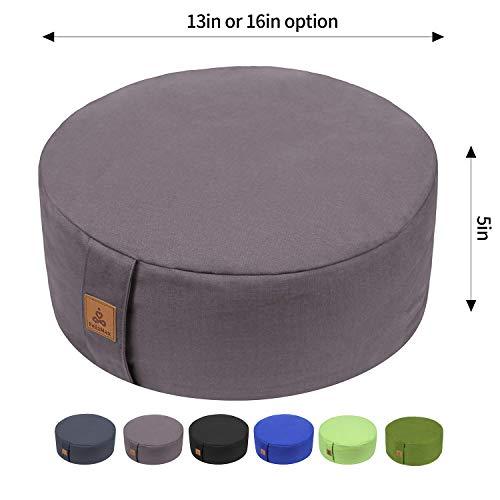 Zafu Buckwheat Meditation Cushion, Round zabuton Meditation Pillow, Yoga Bolster, Floor Pouf, Zippered Organic Cotton Cover, Machine Washable - 4 Colors and large small Sizes (Light Grey, 13