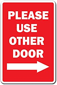 Brushed Aluminum 3X8 Please use Other Door Sign Right Arrow -ref0420