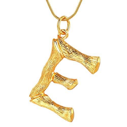 FOCALOOK Letter Initial Pendant Necklace for Women Stainless Steel 18k Gold Plated Snake Chain Alphabet Jewelry E Necklace