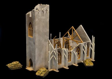 6mm Ruined Church/Cathedral (Matboard) - 285CSS032 by GameCraft Miniatures