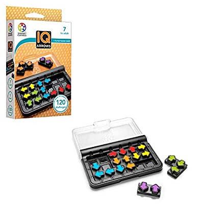 SmartGames IQ Arrows - a Skill-Building Travel Game w/ Portable Case Featuring 120 Challenges for Ages 7 - Adult: Toys & Games
