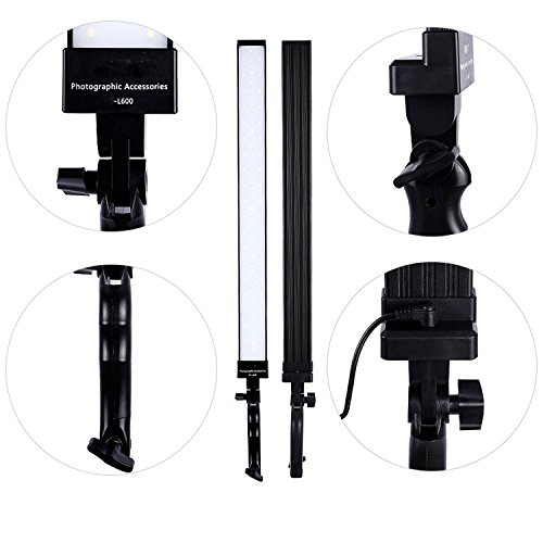 Dimmable LED Video Handheld Lights Photography Studio Continuous Output Lighting Kit with Tripod Stand for Camera Photo Studio Shooting,YouTube, Capture - 36W - 2 Pack by Konseen (Image #3)
