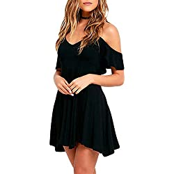 Sidefeel Women Ruffled Cold Shoulder Backless Skater Dress X-Large Black