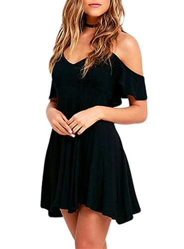 Sexy Dress For Teens (Sidefeel Women Ruffled Cold Shoulder Backless Skater Dress Small Black)