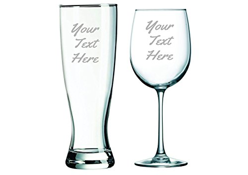 Custom Etched 19 oz Wine Glass and 23 oz. Pilsner, you choose your text and - Pilsner Custom Glasses Etched