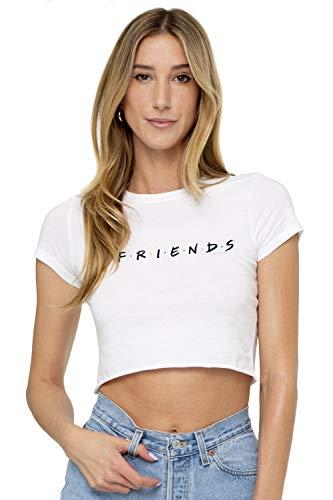 Friends TV Logo Juniors Teen Girls Crop Top T Shirt & Stickers (Small) White