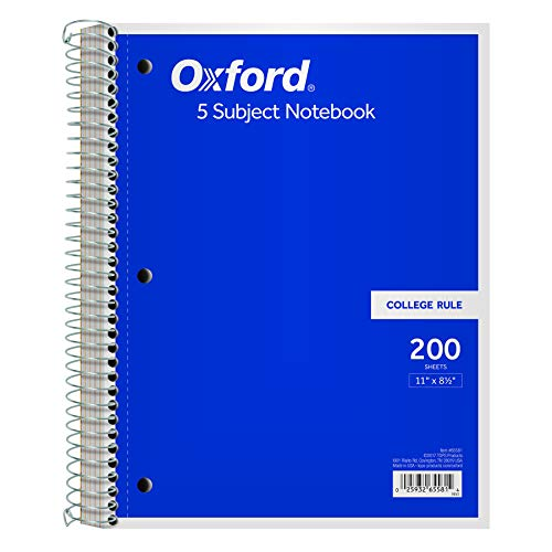 (Oxford 5-Subject Notebook, 8-1/2