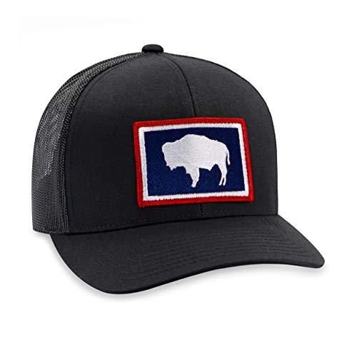 - Wyoming Hat - Wyoming Flag Trucker Hat Baseball Cap Snapback Golf Hat (Black)