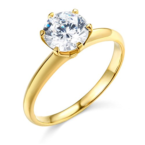 TWJC 14k Yellow Gold SOLID Wedding Engagement Ring - Size 8.5 (Engagement Rings Yellow Gold)