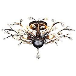 SEOL-LIGHT Vintage Crystal Branches Chandeliers Black Ceiling Light Flush Mounted Fixture With 4 Light 160W