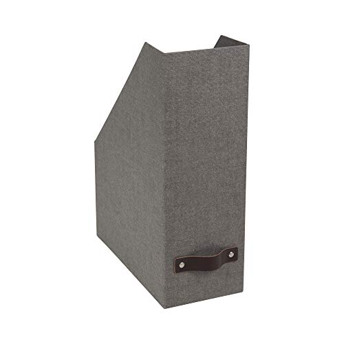 Bigso Estelle Canvas Paper Laminate Magazine File Storage Box, Grey