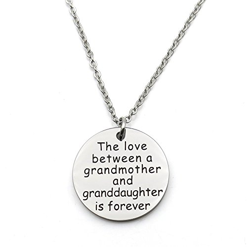 Grandma Handkerchief - simdes The love between a grandmother and granddaughter is forever Stainless Steel Pendant Necklace