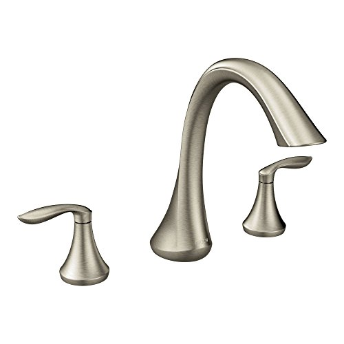 Moen T943BN Eva Two-Handle Deck Mount Roman Tub Faucet Trim Kit, Valve Required, Brushed Nickel Classic Deck Mounted Bath Shower