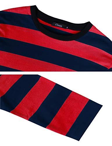 Longues Manches Pour shirt T Tee Coton Iclosam À Homme Marine Shirt Rouge3 Rayé cWTCXTRn