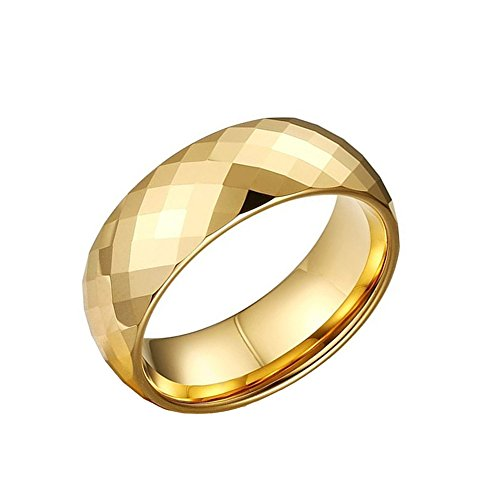 CAFARELLY TOP Multi-Faceted Pure Gold Plated Tungsten Ring Wedding Jewelry Size 10.5 by CAFARELLY TOP (Image #2)