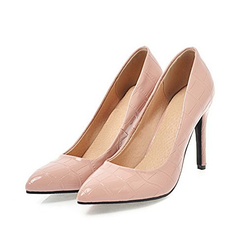 Odomolor Women's Spikes-Stilettos Soild Pull-On Pointed-Toe Pumps-Shoes Pink pRwHqAXyj5