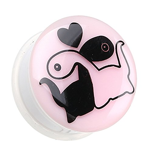 Glow in the Dark Dino Love Single Flared Ear Gauge Plug - 2 GA (6.5mm) - Sold as a Pair